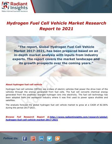 Hydrogen Fuel Cell Vehicle Market: Production, Revenue, Growth Rate, Price and Gross Margin to 2021 by Radiant Insights,inc