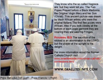 Pope Francis I and Benedict XVI praying to Black Madonna