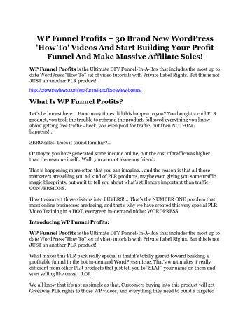 WP Funnel Profits Review-(GIANT) bonus & discount