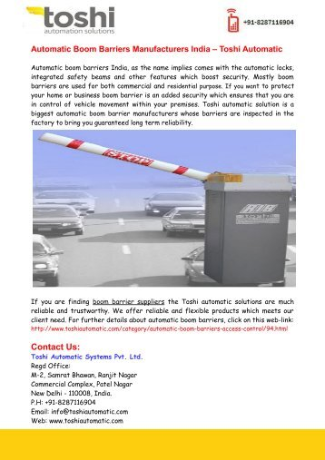 Automatic Boom Barriers Manufacturers India – Toshi Automatic