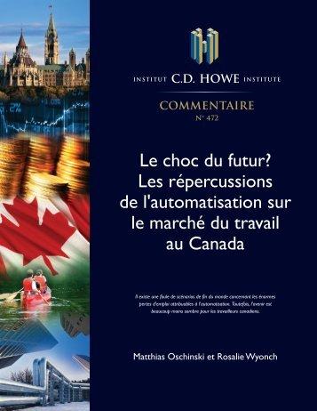 de l'automatisation sur le marché du travail au Canada