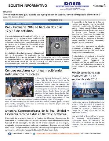 Boletín DNEM No.4 septiembre 2016