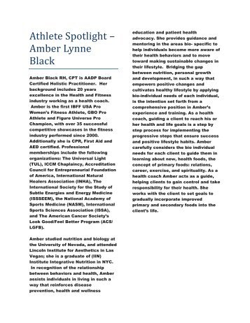 Athlete Spotlight amber black