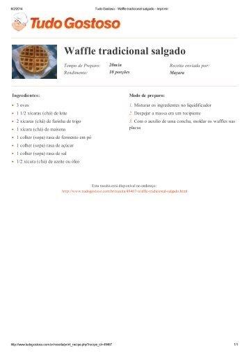 Waffle tradicional salgado