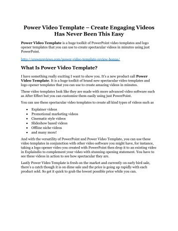 Power Video Template review and (SECRET) $13600 bonus