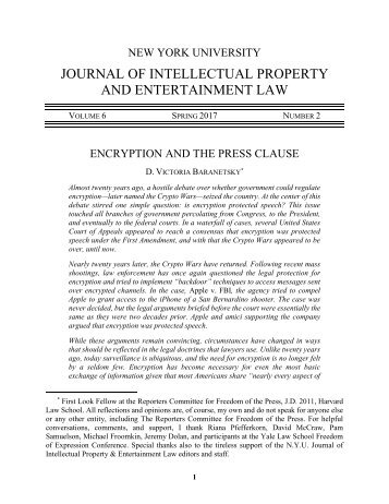 Nyu Journal Of Intellectual Property And Entertainment Law