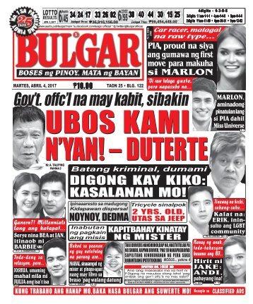 April 4, 2017 BULGAR: BOSES NG PINOY, MATA NG BAYAN