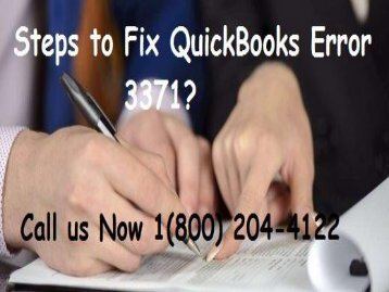 How to Resolve QuickBooks Error 3371? Call 18002044122