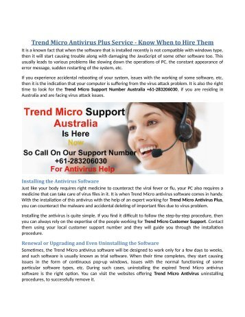 Trend Micro Antivirus Plus Service - Know When to Hire Them