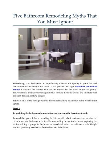 Five Bathroom Remodeling Myths That You Must Ignore