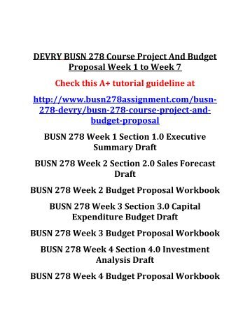 DEVRY BUSN 278 Course Project And Budget