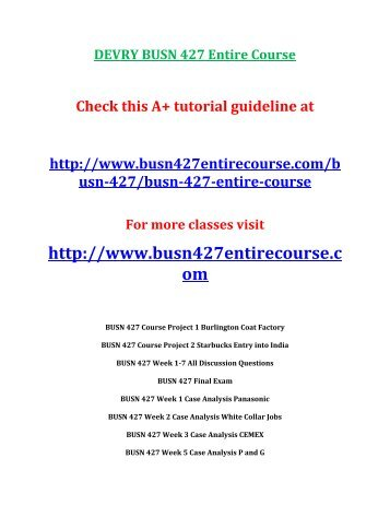DEVRY BUSN 427 Entire Course