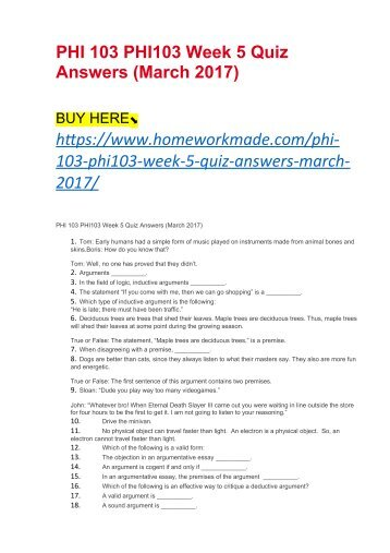 phi103 informal logic week 4 quiz answers Homework help - post homework questions, assignments & papers get answers from premium tutors 24/7.