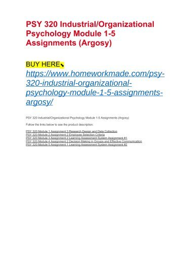PSY 320 Industrial:Organizational Psychology Module 1-5 Assignments (Argosy)