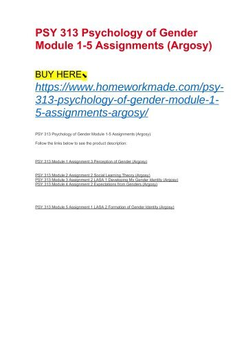 PSY 313 Psychology of Gender Module 1-5 Assignments (Argosy)
