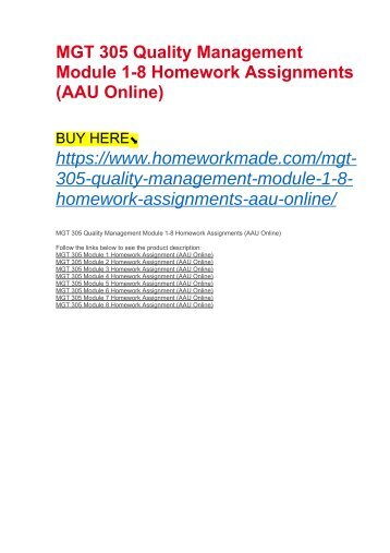 MGT 305 Quality Management Module 1-8 Homework Assignments (AAU Online)