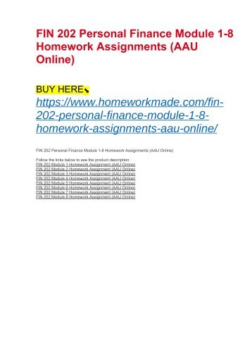FIN 202 Personal Finance Module 1-8 Homework Assignments (AAU Online)