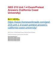 GED 215 Unit 1-4 Exam:Pretest Answers (California Coast University)