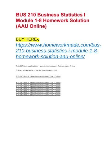 BUS 210 Business Statistics I Module 1-8 Homework Solution (AAU Online)