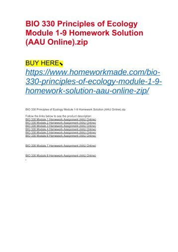 BIO 330 Principles of Ecology Module 1-9 Homework Solution (AAU Online)