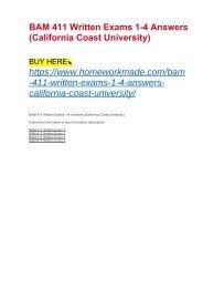 BAM 411 Written Exams 1-4 Answers (California Coast University)