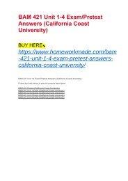 BAM 421 Unit 1-4 Exam:Pretest Answers (California Coast University)