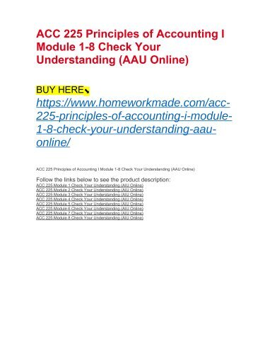 ACC 225 Principles of Accounting I Module 1-8 Check Your Understanding (AAU Online)