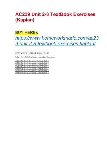 AC239 Unit 2-8 TextBook Exercises (Kaplan)
