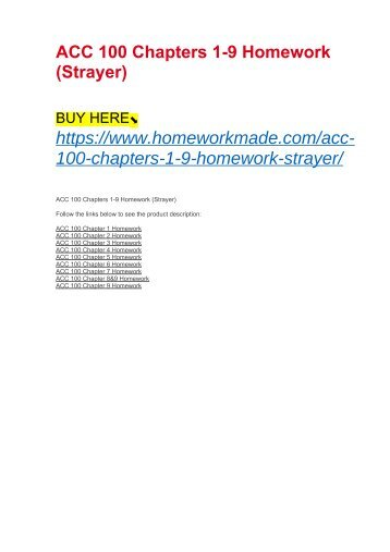 ACC 100 Chapters 1-9 Homework (Strayer)