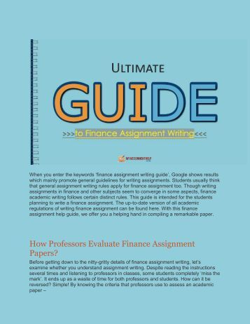 Ultimate Guide to Writing Better Finance Assignments