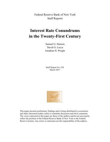 Interest Rate Conundrums in the Twenty-First Century
