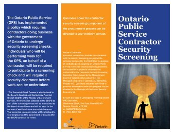 Ontario Public Service Contractor Security Screening (PDF)
