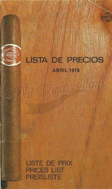 Lista de precios - Abril 1978 - OCI