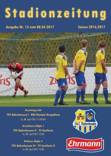 20170408 Stadionzeitung TSV Babenhausen - BSK Olympia Neugablonz