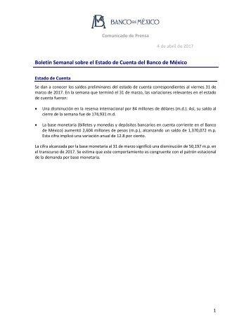 Boletín Semanal sobre el Estado de Cuenta del Banco de México