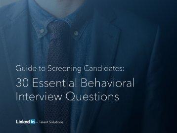 30 Essential Behavioral Interview Questions