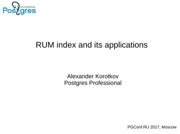 RUM index and its applications