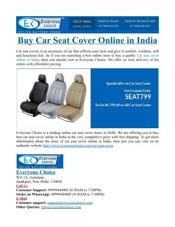 Buy Car Seat Cover Online in India
