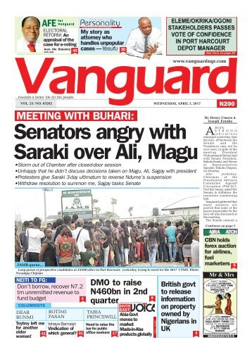 05042017 - Senators angry with Saraki over Ali, Magu