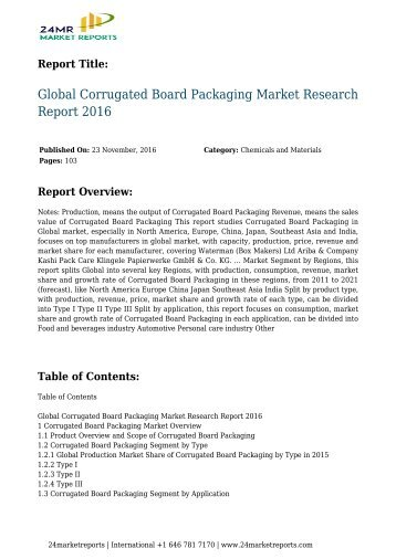 Global Corrugated Board Packaging Market Research Report 2016