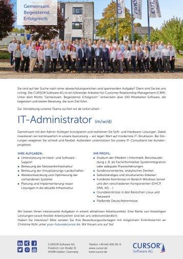 IT Administrator (m/w) Stellenanzeige