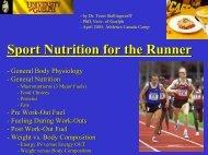 Sport Nutrition for the Runner