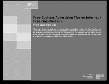 Free Business Advertising Tips on internet – Free classified ads