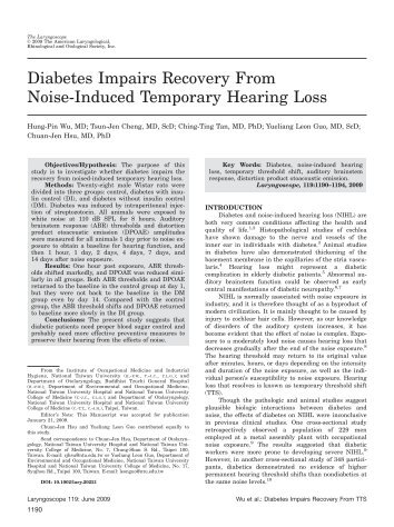Diabetes impairs recovery from noise-induced temporary hearing loss