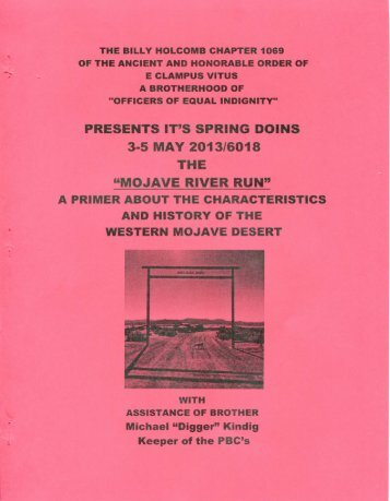 6018-2013 Spring Clampout Mojave River Run History