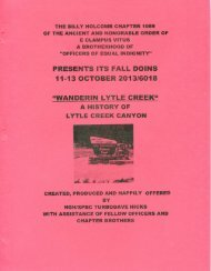 6018-2013 Fall Clampout Wanderin Lytle Creek History