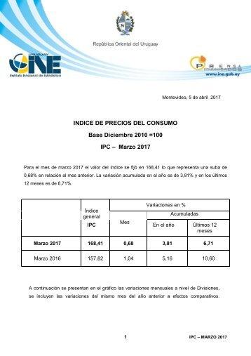 Base Diciembre 2010 =100 IPC – Marzo 2017