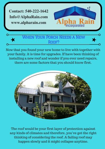 When Your Porch Needs a New Roof?