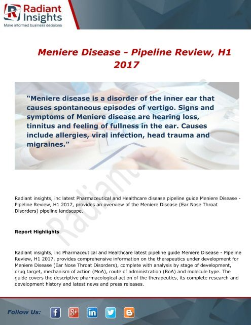 Meniere Disease - Pipeline Review, H1 2017