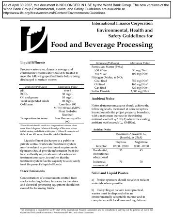 Food and Beverage Processing - IFC